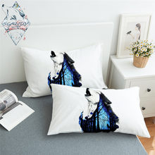 Missing You by Scandy Girl Pillowcase Howling Wolf Pillow Case Animal Forest Bedding Blue Galaxy Night Pillow Cover One Pair(China)