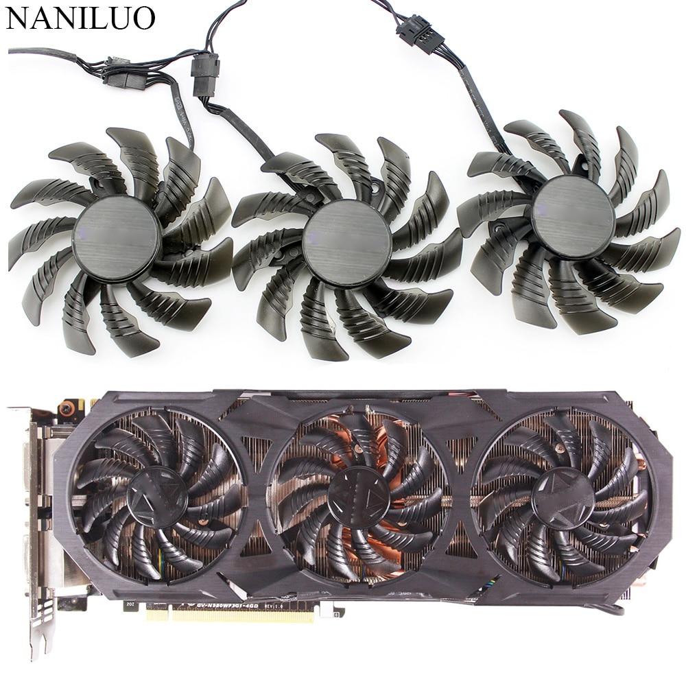 1 pcs PLD08010S12HH Fan 0.35A 75mm For Gigabyte GTX960//970//980 Graphics Card