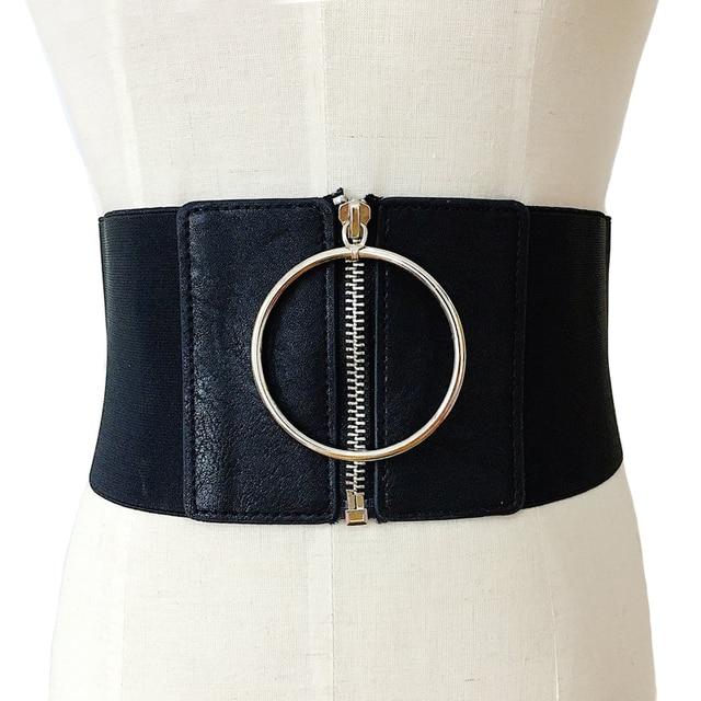 87b85245351e1 Srebrna klamra skórzane szerokie elastyczne paski damskie dekoracji duże  metalowe Koła pierścień mody cummerbund pasek damski