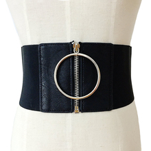 silver buckle leather wide elastic female belts decoration big metal Circle ring fashion cummerbund strap lady