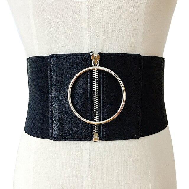 silver buckle leather wide elastic female belts decoration big metal Circle  ring fashion cummerbund strap lady s waist belt 1e5179392