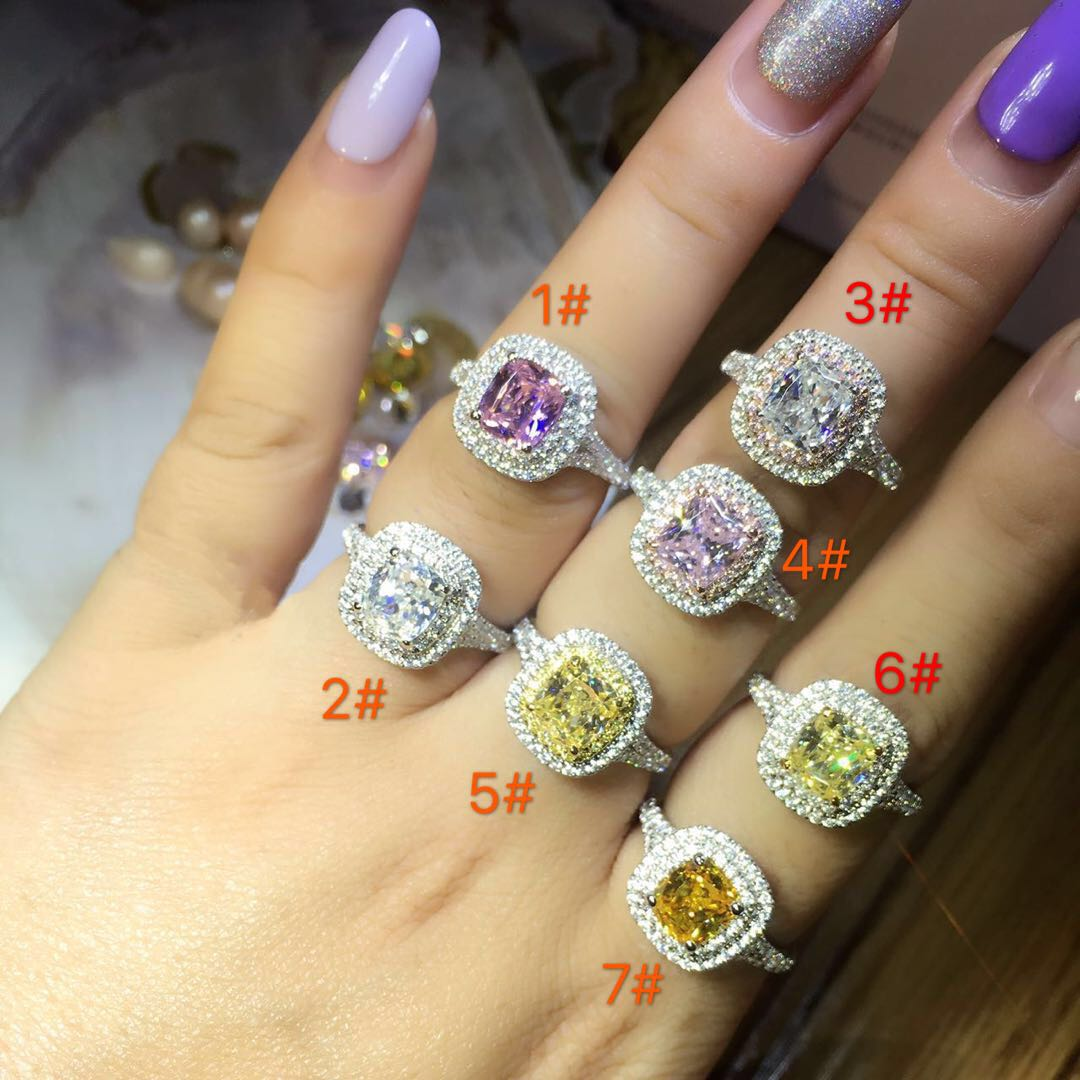 TR523 Cushion Cut Rings Set 925 Sterling Silver White Gold Color 2CT Synthetic Gem Rings with Wedding Bands