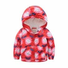 M83 Fashion Cartoon Printing Winter Cotton Chirden Thicken Padded Lining Jacket Hoodies Keep Warm Boys Girls Coat Tops Outwear