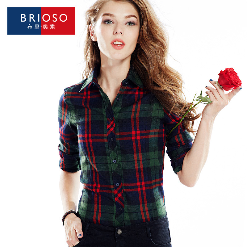 Wholesale 2016 new spring high quality polyester plaid shirt female long sleeves British font b tartan