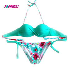 Faerdasi Floral print set Women push up Biquini New Bandage Swimsuit Summer Bandeau  Bikini