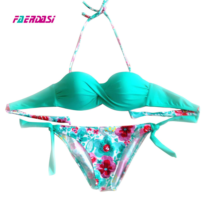 Faerdasi Floral print Bikini set Women push up Biquini 2018 New Bandage Swimsuit Summer Bandeau Swimwear Maillot de bain femme tassel bikini set sexy bikini push up swimsuit women two piece suits bandeau swimwear female maillot de bain femme 2016 new