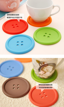 Free shipping creative household supplies round silicone coasters cute button coasters Cup mat 100pcs/lot