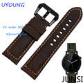 Qualidade do couro genuíno faixa de relógio 20mm 22mm brown mens smart watch acessórios para moto 360