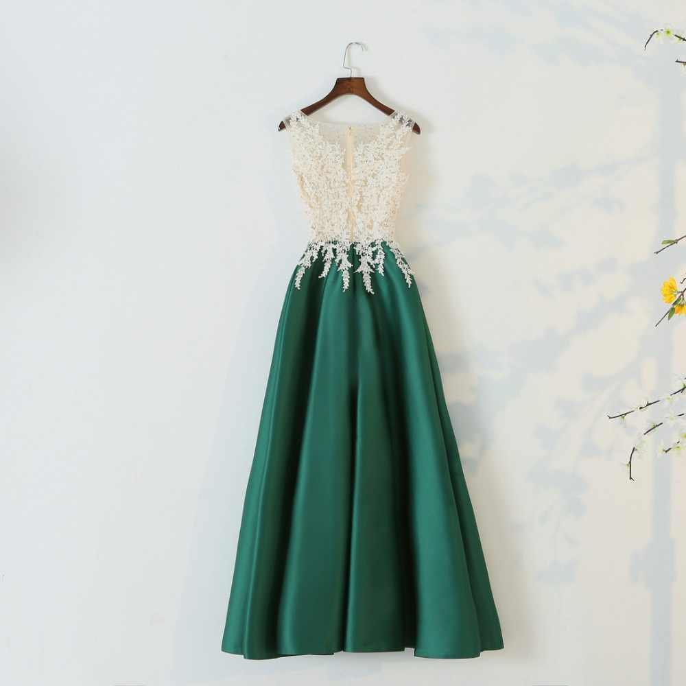 b8d160b0ff JaneVini 2018 Elegant Green Satin Women Wedding Party Dress Beaded Lace  Sleeveless Long Bridesmaid Dresses Formal Occasion Gowns