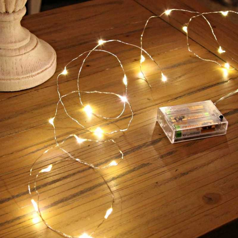 2M 3M 5M 10M 100 Led Strings Copper Wire 3XAA Battery Operated Christmas Wedding Party Decoration LED String Fairy Lights