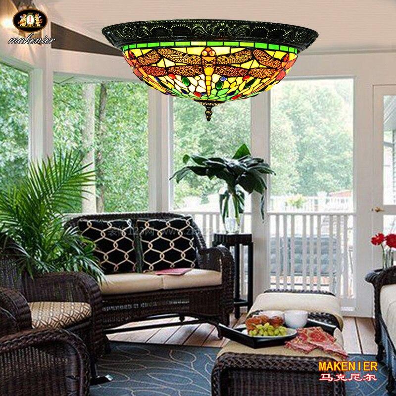 Makenier винтажный Тиффани стиль зеленый витраж Стрекоза заподлицо потолочный светильник, 16 дюймов абажур