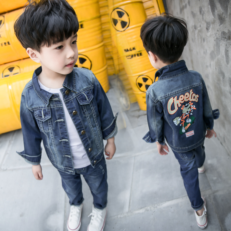 children clothes sets 2017 spring style infant clothing baby boy cartoon suit autumn jeans kids fashion two piece suit jackets