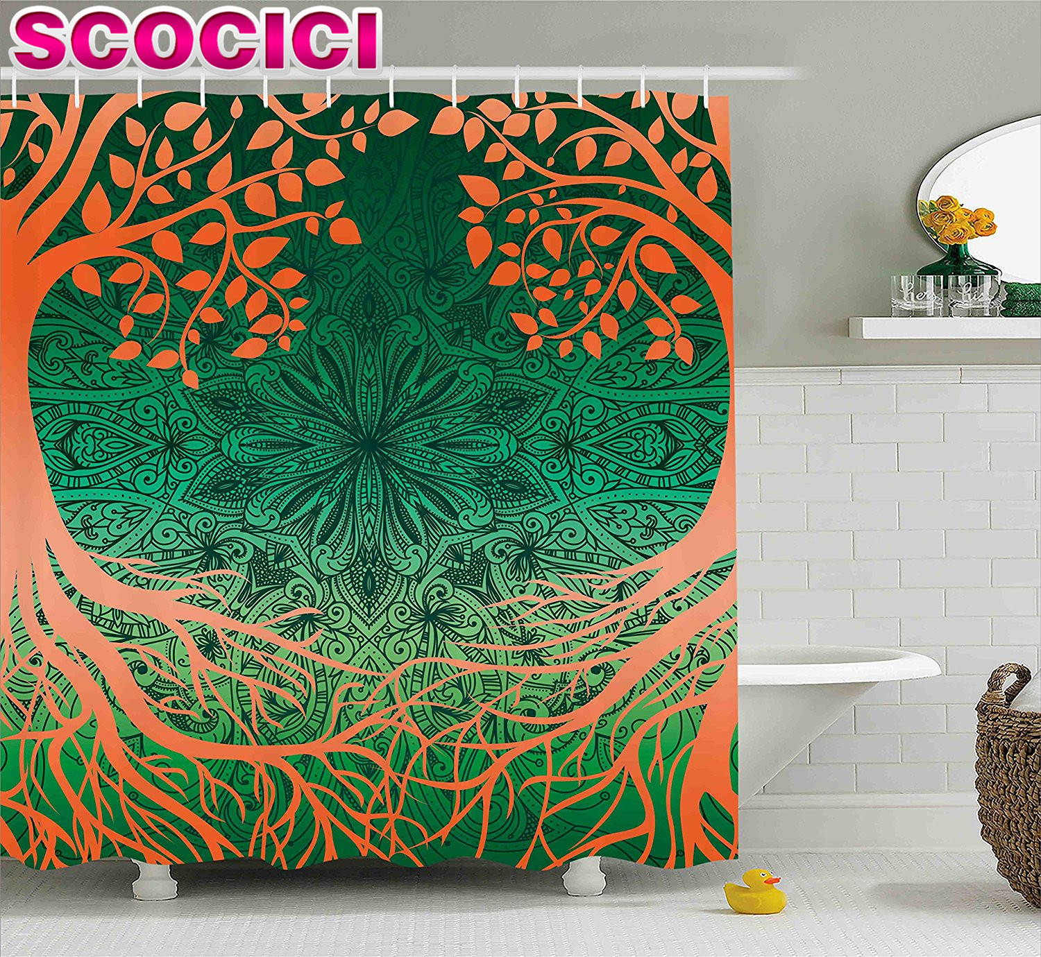Green indian curtains - Indian Shower Curtain Asian Mandala Form Universe Symbol Cultural Pattern Surrounded By Branches Design Fabric Bathroom Decor Se