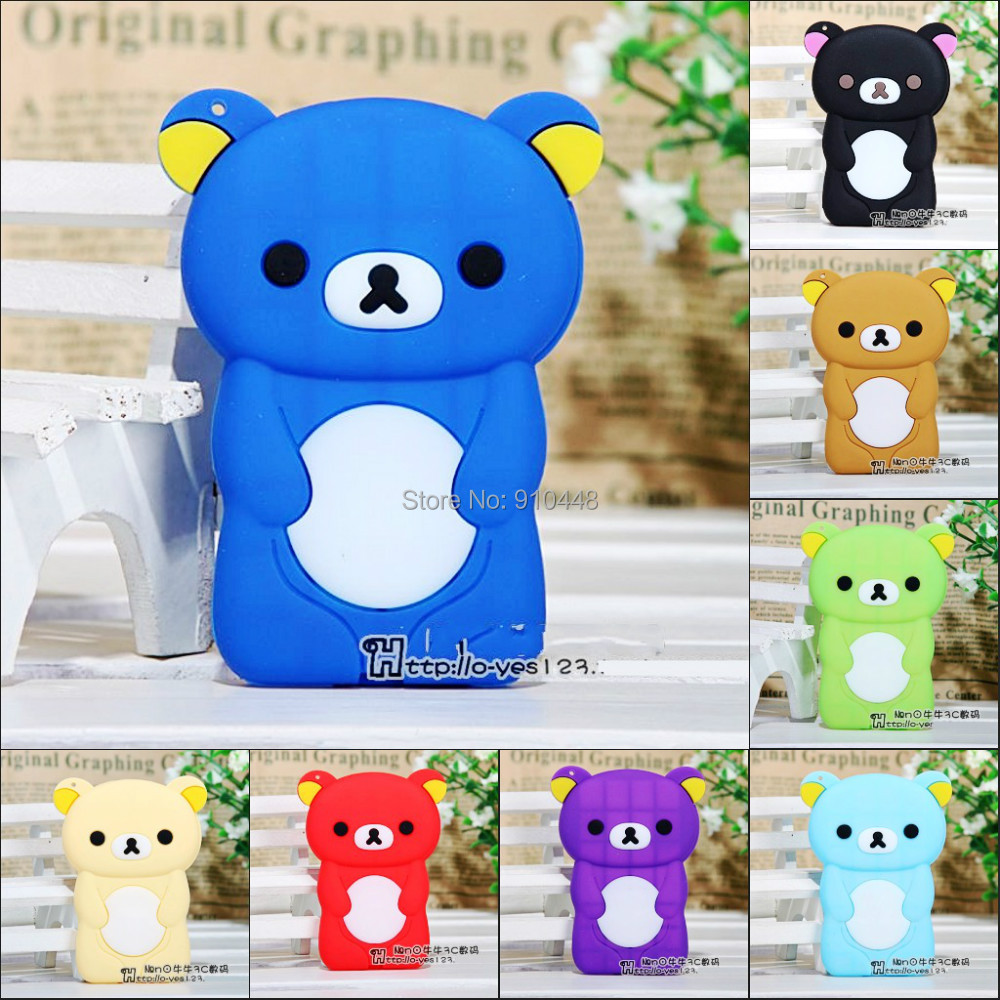 New Arrival lovely cute Bear Soft TPU Silicone Case for Apple iPod Nano 7 with screen film and free lanyard ...