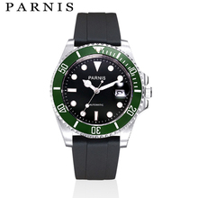 Men's Mechanical Watch Watch 40mm Parnis Automatic Watch Men Black Rubber Strap Stainless Steel Auto Date Sapphire Crystal