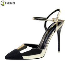 2019 Luxury Gladiator Women Pumps Ankle Strap Sexy High Heels Sandals Female Pointed Toe Buckle Shoes Fashion Pumps Suede Ladies high heels quality designer shoes size 33 pumps ultra runway women scarpin suede 3 inch extreme super pointed toe ankle strap