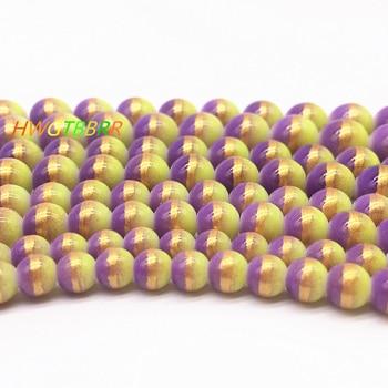 Hurtownie 6/8/10/12mm trzykolorowe paciorki szklane koraliki dystansowe luzem malowane perłowe koraliki DIY tworzenie biżuterii #06