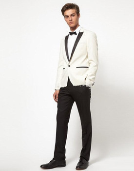 Custom Made New Style Ivory Men Slim Fits Suits Tuxedos Grooms Suit Men's Wedding Suits Business Suits Jacket+Pants