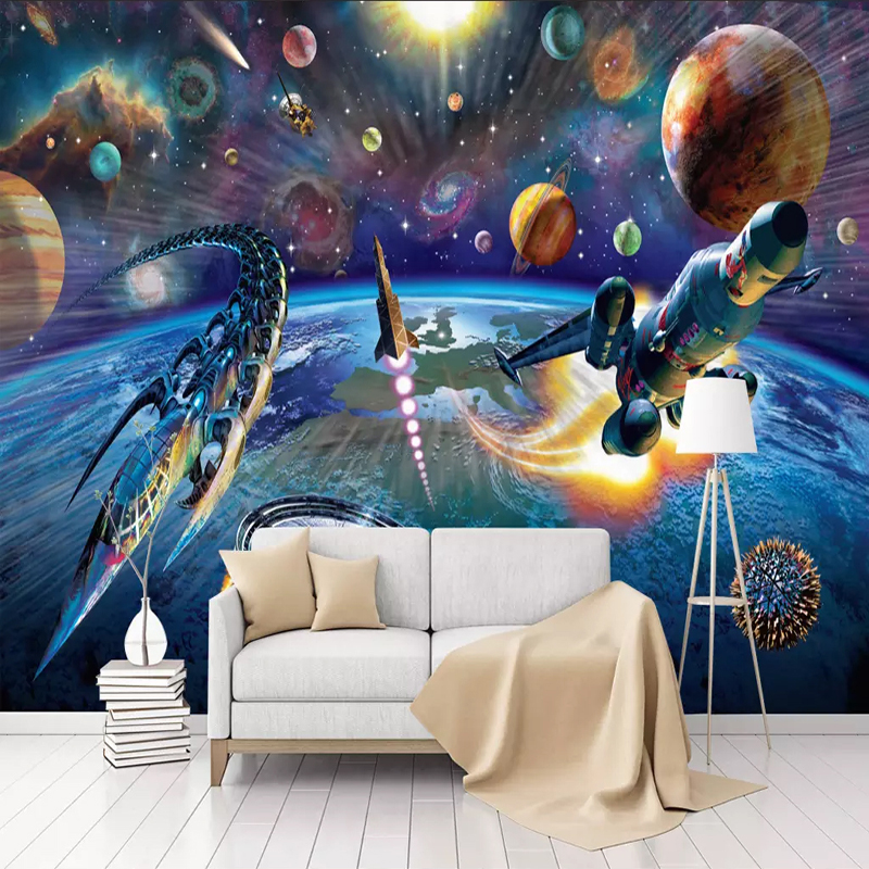 Custom Mural Wallpaper Modern Hand Painted Cartoon Space Spaceship Children Room Bedroom Wall Decoration Wallpaper For Kids Room