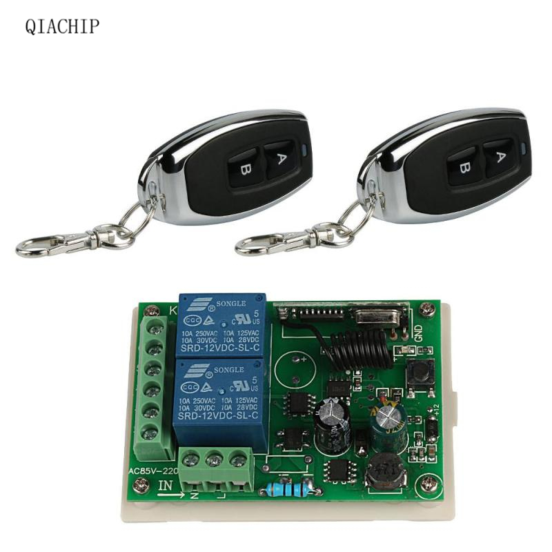 433Mhz Universal AC 220V 2CH Wireless Remote Control Switch Relay Receiver Module + 433 MHz RF Transmitter For Smart Switch Diy qiachip 4pcs rf transmitter 433 mhz remote controls 433mhz wireless remote control switch dc 12v 1ch rf relay receiver module