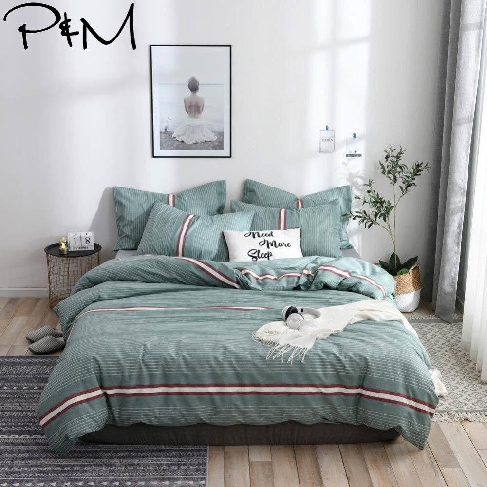 Bedding Home Textile 2019 Papa&mima Green Stripes Lines Bedlinens Twin Queen King Duvet Cover Set 2/3pcs Cotton Fabric Bedding Pillowcases