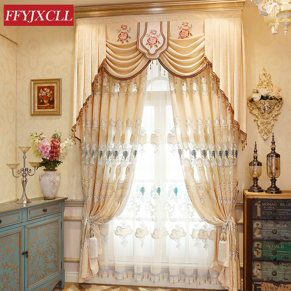 High Quality Luxury Villas Europe Curtain Window For Living Room Bedroom Kitchen Curtain  Embroidered Tulle Custom Made