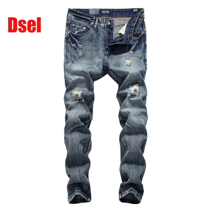 ФОТО 2017 New Dsel Brand Top Quality Hot Sale Fashion Men Jeans Straight Dark Blue Color Printed Jeans Men Ripped Jeans.604-2