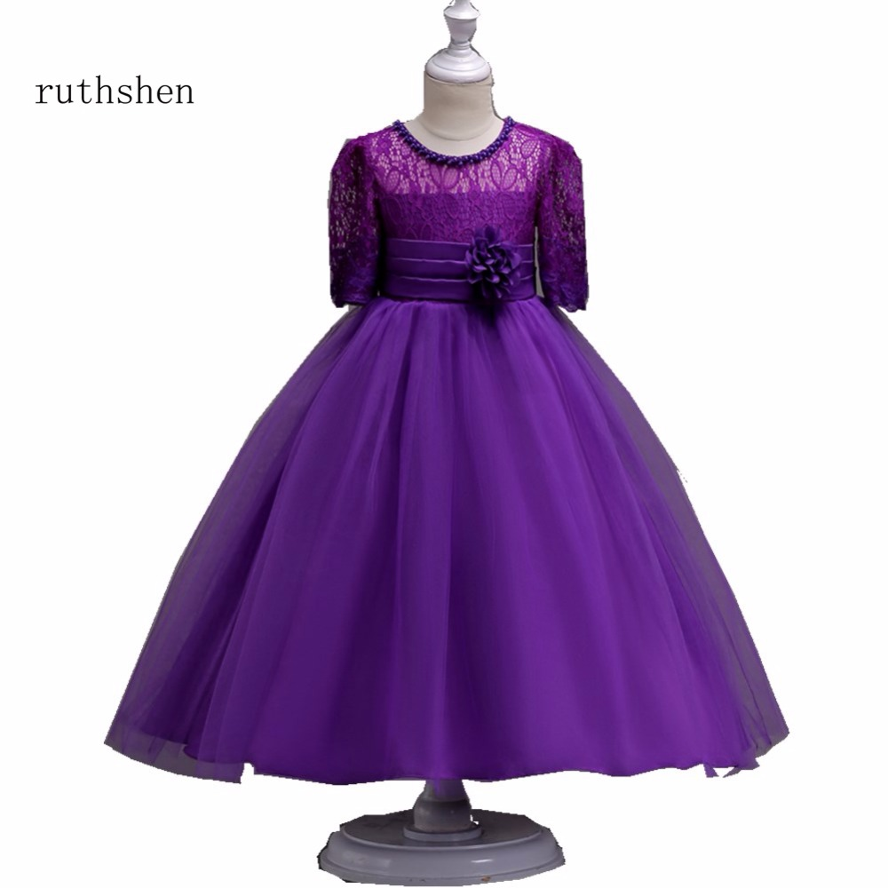 ruthshen Stunning 3/4 Sleeves In Stock Lace   Flower     Girl     Dresses   With   Flowers   Belt Pearls For Wedding Birthday Party 2018