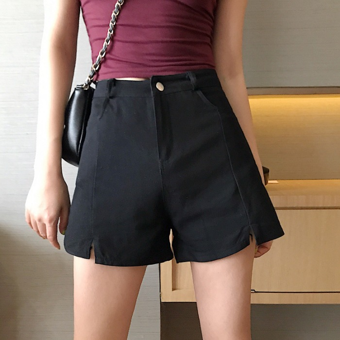 Retro Split Shorts High Waist 2019 Summer Slim Straight Zipper Button Cotton Pantalones Cortos Mujer Elegant Style TQ2995D(China)