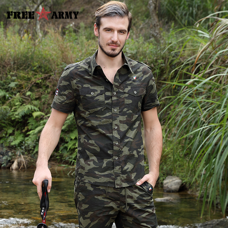 Gratis Army Brand Hot Herre Shirts Fashion 2017 Summer Short Sleeves - Herretøj - Foto 6