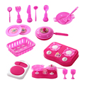 Nuevo diseño muchachas de los niños \'s kitchen toys pretend play house regalo conjuntos de utensilios de cocina de juguete de plástico