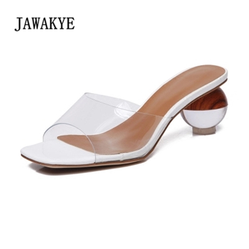 New Summer Clear high heel Slippers Women PVC Transparent Shoes round heel sexy ladies Mules Outdoor Slides Shoes Woman JAWAKYE