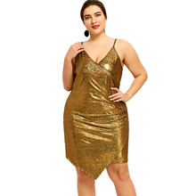 c882aa3000522 ZAFUL Plus Size Plunge Sheath Bodycon Dress Sexy Club Party Vestidos Golden  Color Sleeveless Deep V Dress 4XL Women Dresses 2018