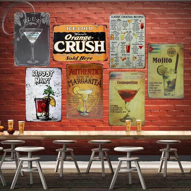 Clic Tail Recipes Shabby Chic Tin Signs 20 30 Cm Retro Bar Pub Home Wall