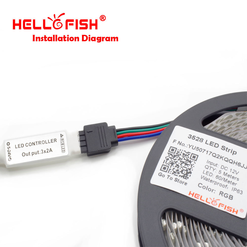 Hello Fish 3528 Rgb Flexible 300 Smd Led Strip Light 24 Key Ir 12v Wiring Diagram For When Testing The Please Use A 5a Or Bigger Power Adapter To Test As Below Picture Shows Ensure An Accurate And Consistent Result