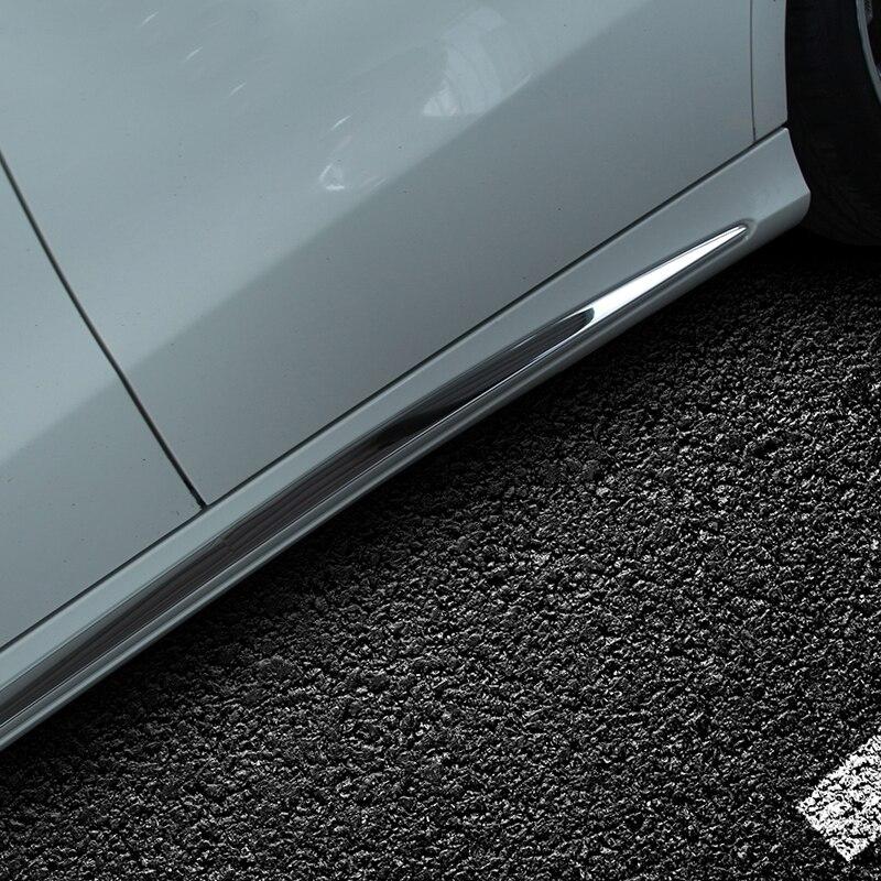 Pour mercedes-benz W205 voiture autocollants porte en acier inoxydable brillant bande C-CLASS W205 côté jupe accessoires décoratifs - 5