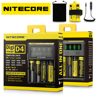 ホットnitecore d4 d2新しいi4 i2バッテリー充電器液晶インテリジェント充電器リチウムイオン18650 14500 16340 26650 aaa aa 12ボルトのバッテリー充電器