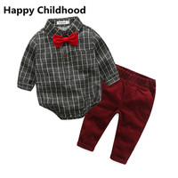 2017 Spring Autumn Baby Boy Clothes Baby Clothing Suit Gentleman Style Bow Tie Plaid Shirt Cordury