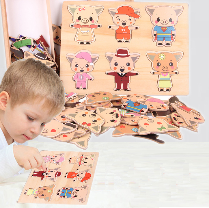 где купить MamimamiHome Baby Wooden Toys Bear Change Clothes Wooden Baby Early Education Puzzle Game Montessori Toys Children's Puzzle дешево