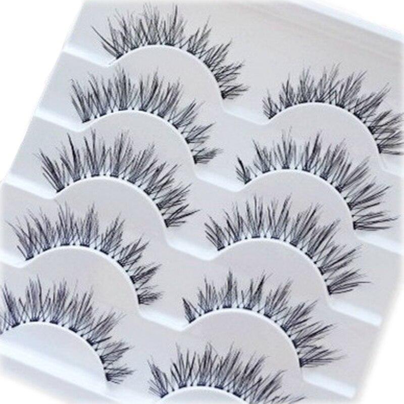 High Quality 5 Pairs/Set Handmade Natural Fashion Long False Eyelashes Thick Cross Soft Natural Eye Lashes Beauty Tools