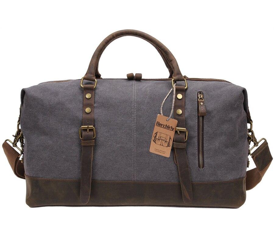 ヴィンテージ軍事キャンバスレザービッグダッフルバッグメンズ旅行荷物袋大運ぶ道路週末トート  グループ上の スーツケース & バッグ からの 旅行バッグ の中 1