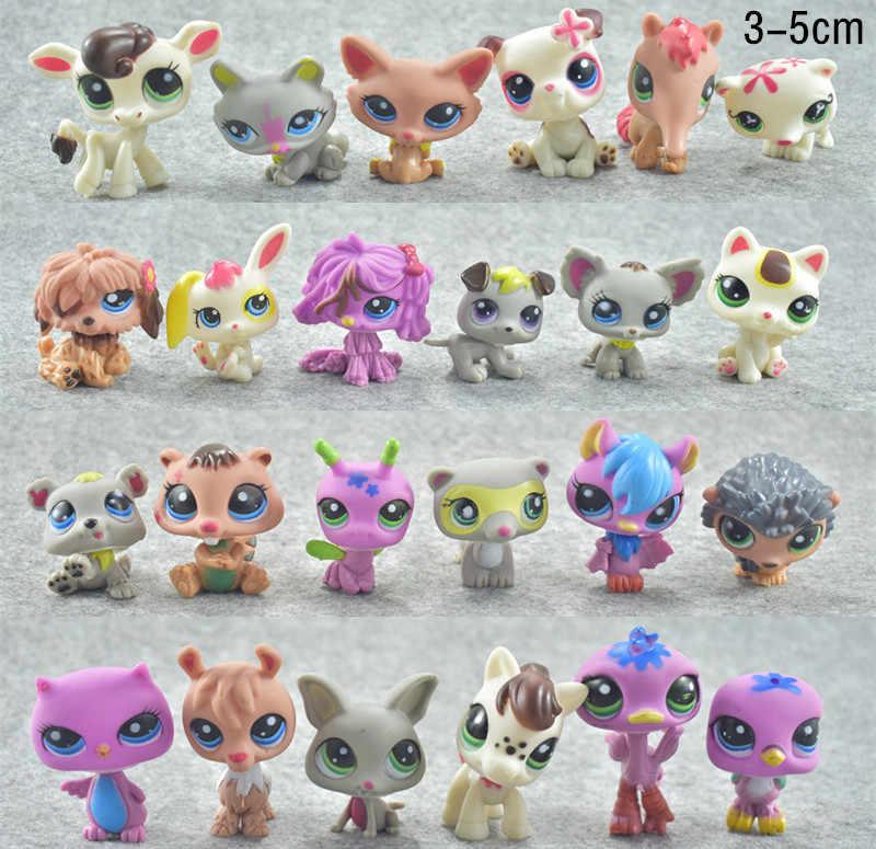 QWOK 24 pçs/set Bonecas Raros LPS Pet Shop Figuras de Ação & Toy Tiger Cat Lps Dachshund Cão Collie Gato Patrulha canina