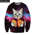 SexeMara 2017 Cats Eat Pizza Printed Sweatshirt Fashion Punk Warm Workout Kpop Elastic Pullover Casual Harajuku Kawaii Top F1328
