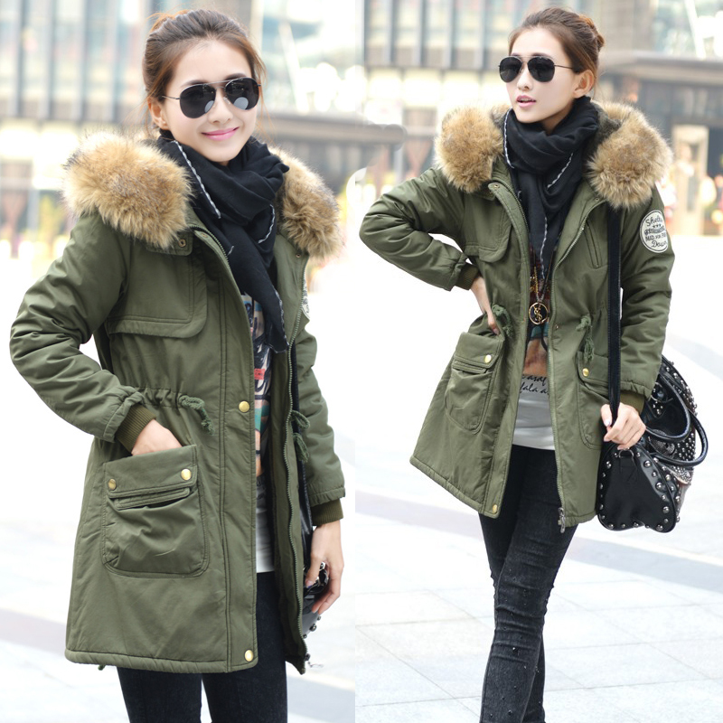 2013 Women's Cotton-padded Jacket, Fur Collar,Large Long Coat, Thickening Clothing,Army Green Winter Wear - ASLUOLA store
