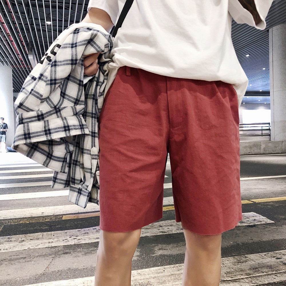 2018 Korean Summer New Mens Fashion Tide Cotton Haren Trousers Loose Casual Black/Pink/khaki/Red Color Male Thin Shorts M-2XL