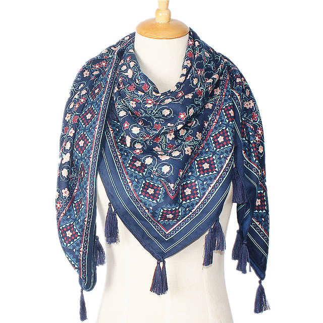 110cm*110cm Women 2016 New Fashion Bohemian Ethnic Wind Style Small Floral Pattern Hand Made Tassels Square Scarf Big Shawls