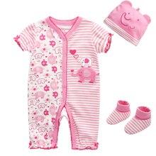 3Pcs Cotton Short-Sleeve Baby Romper+Hat+Socks Set