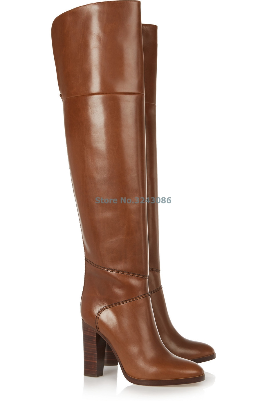New Arrival Brown Round Toe Chunky High Heel Long Boots Classic Sewing Half Zipper Over The Knee Boots Basic Riding Boots    New Arrival Brown Round Toe Chunky High Heel Long Boots Classic Sewing Half Zipper Over The Knee Boots Basic Riding Boots