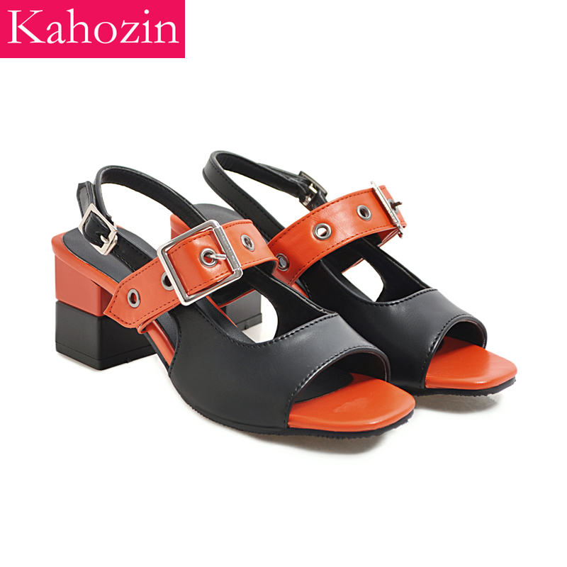 Kahozin woman summer sandals square heel buckle strap back strap Square toe cap PU nice shoes for women Fashion casual office