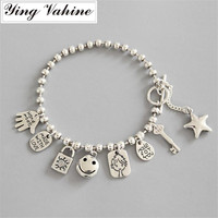 ying Vahine New Hot Fashion Bracelet Silver 925 Jewelry Star & Smiling Face Bracelets for Women pulseras mujer